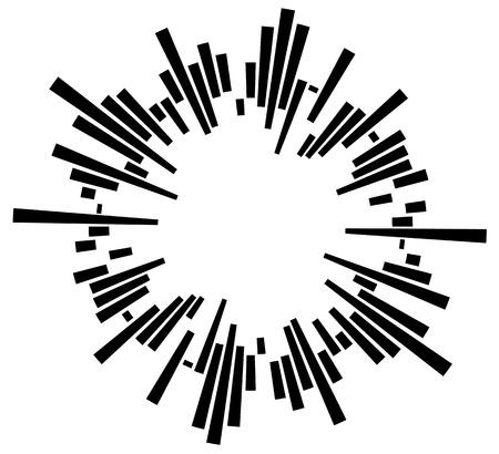 Geometric circular element with irregular radial lines, bars. Rectangular circular element Illustration