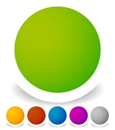 blank button: Bright colorful circle design elements, empty blank button backgrounds in 6 colors. Transparent shadow. Illustration
