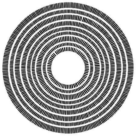 concentric: Concentric circle element made of rectangles. Geometric circle design.