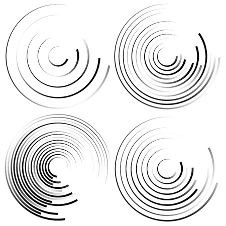 curl whirlpool: Abstract spiral shapes - Spirally, whirling circular element set. Illustration