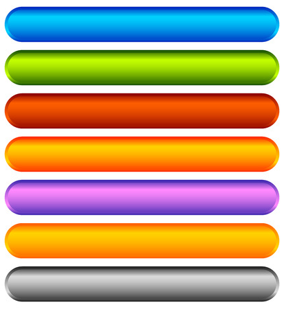 corner tab: Horizontal colorful banner, button backgrounds. Set of vivid web or print buttons with blank space for your message.