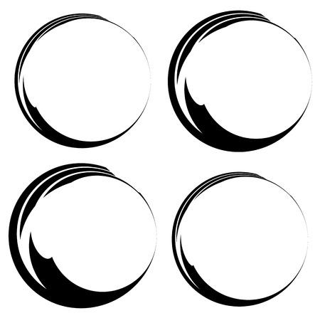 tint: Grungy ink, tint circles. Set of 4 version. Handdrawn circle frames, borders