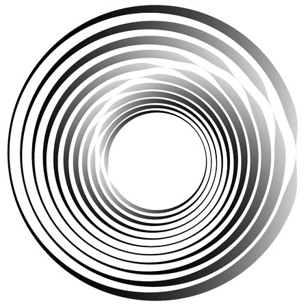whorl: Concentric circles. Radiating, radial circles monochrome abstract element. Rotating, spiral, vortex element. Spirally circular shape.