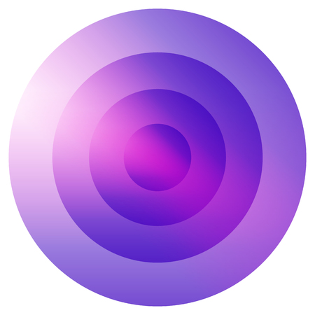 epicentre: Glassy colorful radiating, concentric circles element. Glowing bright colorful icon, shape on white