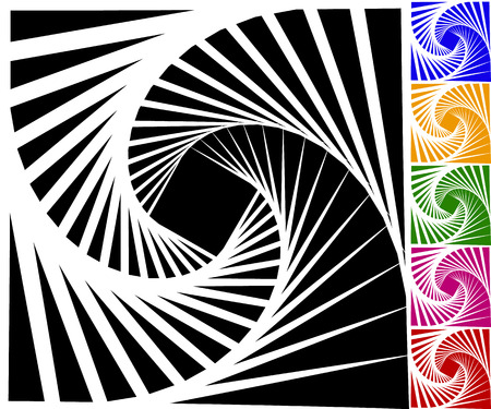 tweak: Abstract background set with concentric rotating contour lines. Set of 6 colors