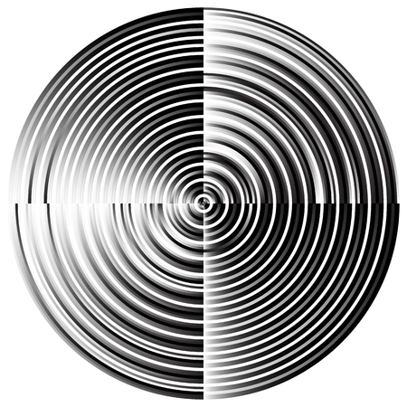 visual: Abstract radial, concentric circles, rings. Monochrome visual element on white.
