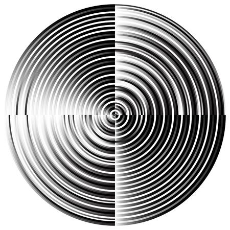 circulos concentricos: radial abstracta, c�rculos conc�ntricos, anillos. Monocromo elemento visual en blanco.