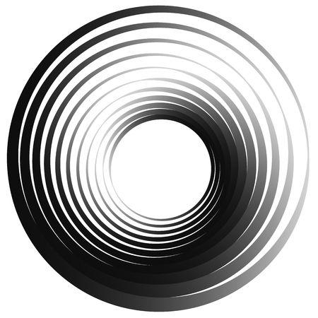 psychic: Concentric circles. Radiating, radial circles monochrome abstract element. Rotating, spiral, vortex element. Spirally circular shape.