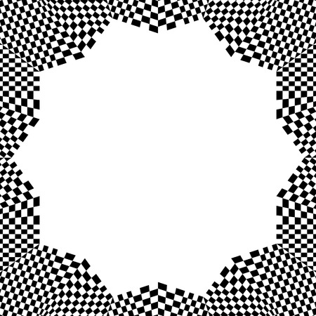 revolved: Checkered circular element. Abstract monochrome graphic with squared, checkered pattern.
