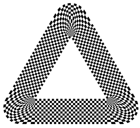 unconscious: Rounded shape with checkered pattern fill. Contrasty abstract graphical element.