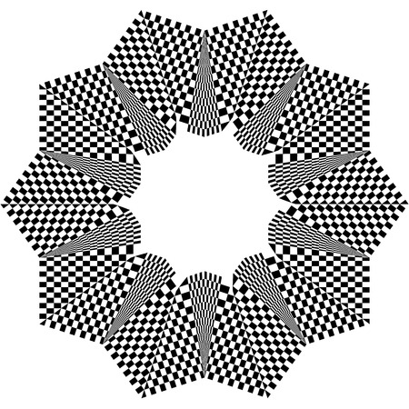 squared: Checkered circular element. Abstract monochrome graphic with squared, checkered pattern.