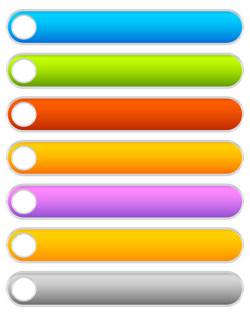 elongated: Button, banner background in 7 colors - horizontal, long button templates with blank space for your message
