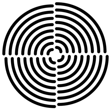 quarter: Concentric circle(s) cut in quarter - abstract monochrome radiating element