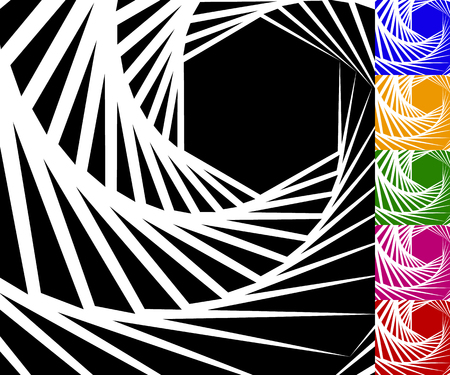 gyration: Abstract background set with concentric rotating contour lines. Set of 6 colors