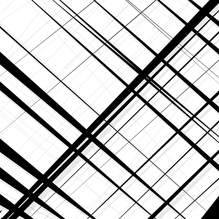 skew: Abstract, irregular lines pattern, background. Monochrome geometric art. Illustration