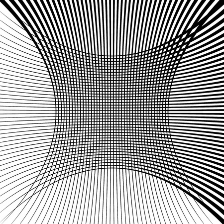grillage: Abstract grid, mesh texture with distortion effect. Abstract monochrome texture, pattern.