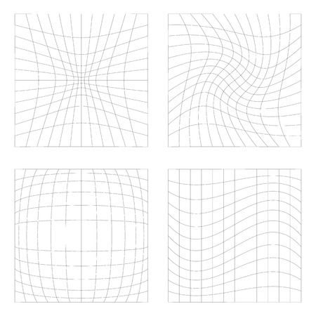 tense: Set of 4 elements with different distortions, squares with deformation effect. Illustration