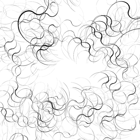 wriggle: Curly, curved random lines. Abstract monochrome texture, pattern.