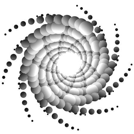 curvature: Abstract spirally monochrome element with overlapping circles