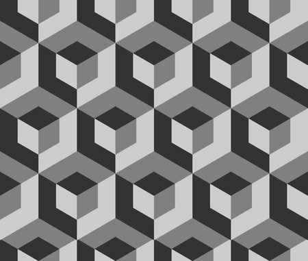 Abstract monochrome pattern with overlapping squares. Seamless 3d pattern. Grayscale, black and white background Illustration