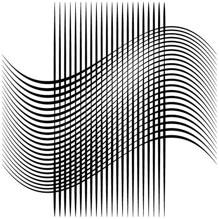 abstractionism: Abstract intersecting lines, grid mesh pattern element isolated on white Illustration