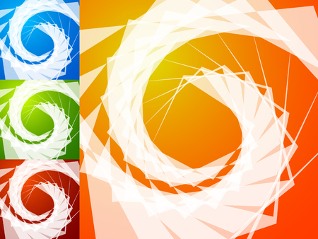 vivid colors: Colorful bright spirally background. Spiral, vortex background set with geometric elements. Background set in 4 bright, vivid colors. Illustration