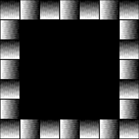 pictureframe: Square format photo, picture frame with mosaic of lines. Artistic, textured frame with squarish empty space
