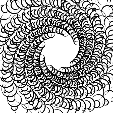 revolve: Abstract spirally monochrome element with overlapping circles
