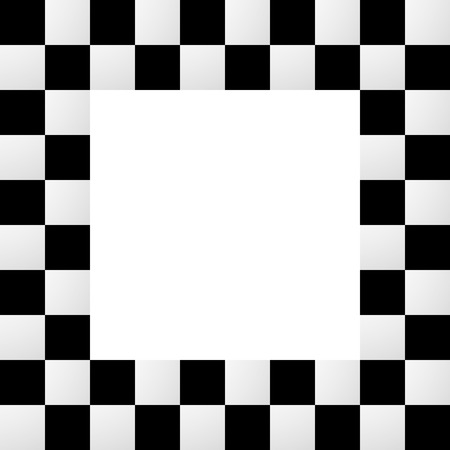 checkerboard backdrop: Checkered frame, border. Empty squarish picture, photo frame with squares for racing photos or generic use Illustration