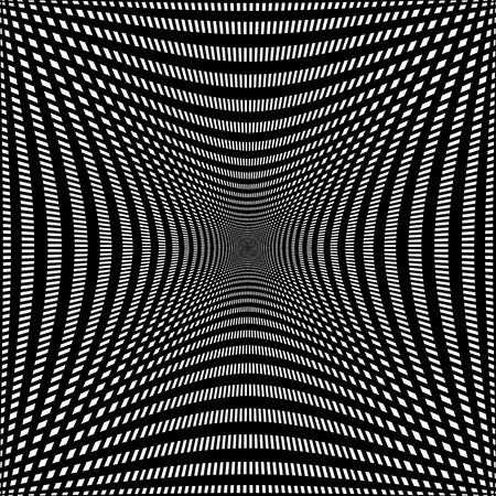camber: Compressed, indented grid of lines. Abstract mesh pattern, monochrome background. Illustration