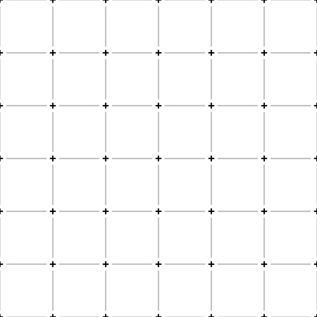 Abstract grid, mesh pattern with plus symbols. Monochrome technical background with cross-hairs. Ilustração