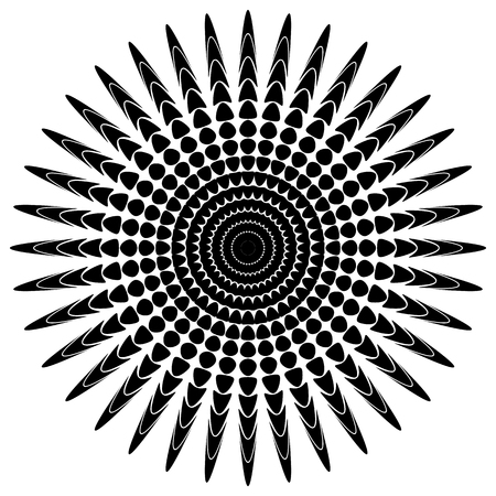 tweak: Abstract radiating motif, concentric monochrome element on white