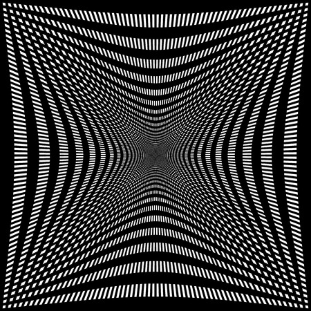 compressed: Compressed, indented grid of lines. Abstract mesh pattern, monochrome background. Illustration