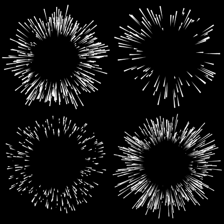 fire works: Set of 4 fireworks, explosion elements. Radiating lines in random, irregular fashion Illustration