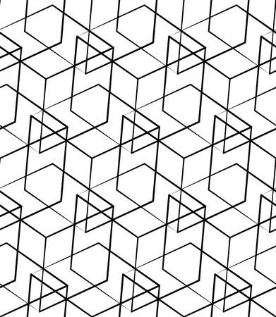 Grid, mesh seamless monochrome pattern. Intersecting lines. Vektorové ilustrace