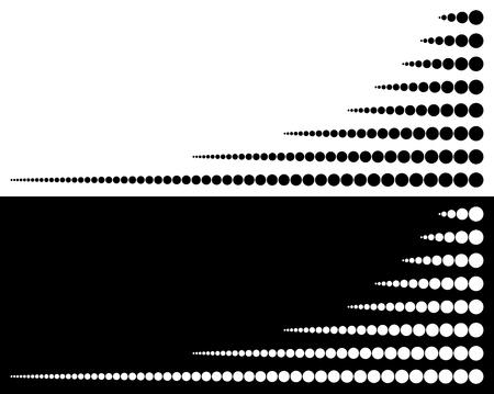 lineas horizontales: Conjunto de círculos de grande a pequeño en líneas horizontales Vectores