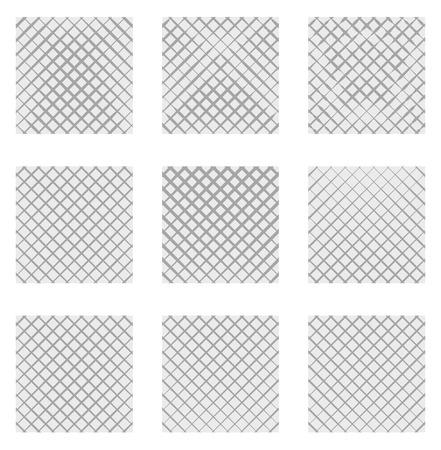 Set of 9 grids, meshes. Set of monochrome elements, backgrounds, patterns. Illustration