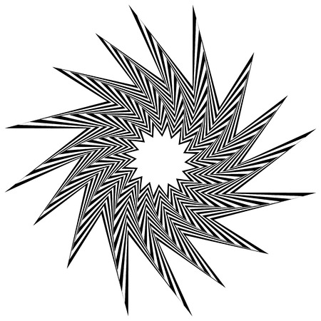 inwards: Pointed, edgy, spiky shape rotating inwards. Abstract angular black and white element.