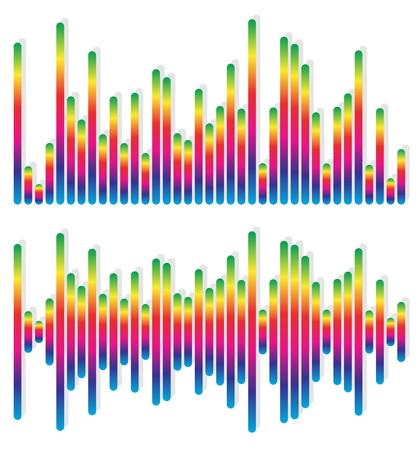 discoteque: 2 different equalizer, EQ graphics - Vertical bars, rectangles Illustration