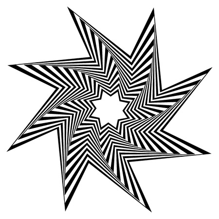 spiky: Pointed, edgy, spiky shape rotating inwards. Abstract angular black and white element.