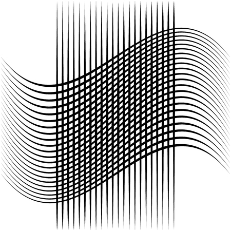 grillage: Abstract intersecting lines, grid mesh pattern element isolated on white Illustration