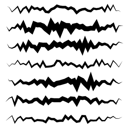 undulating: Abstract irregular line set. Different wavy, zigzag dividers, lines.