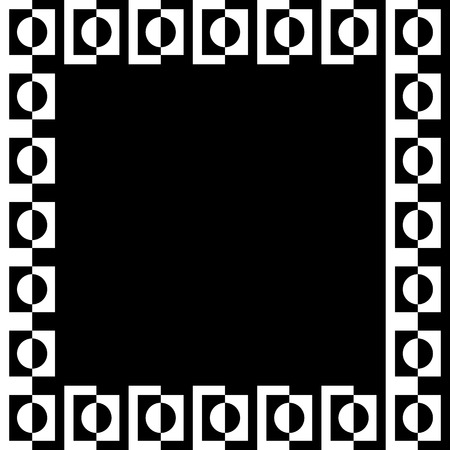 classic contrast: Geometric picture, photo frame in squarish format. Mosaic of geometric shapes. Monochrome  border element.