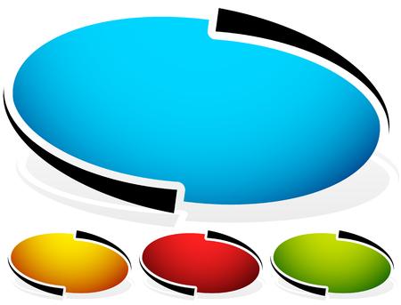 Oval, placa elipse, botón de fondo. Conjunto de 4 colores. elementos de diseño genéricos. versión en blanco. Inclinada versión con la sombra. (Más versiones en mi galería)