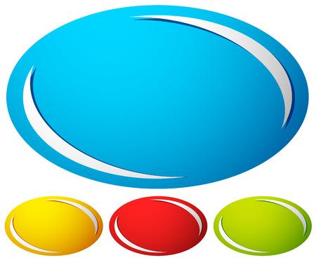 Oval, insigne ellipse, bouton fond. Ensemble de 4 couleurs. génériques éléments de conception. Vecteurs