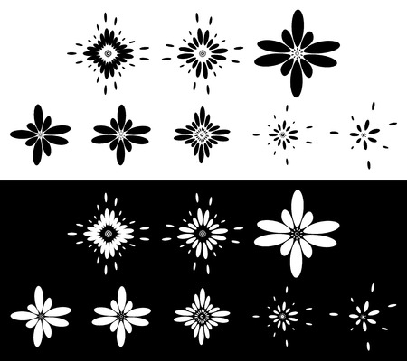 squeeze shape: Set of 8 abstract elements, motifs - Circular, rounded element set in black and white