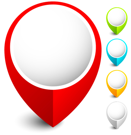 Mappa marcatore, icona map pin in 5 colori