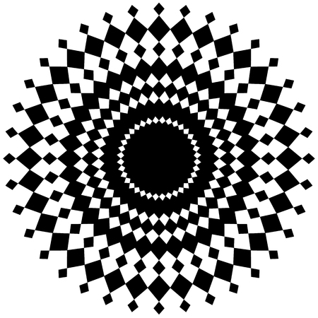 black lines: Abstract radial element on white. Geometric shape. Illustration