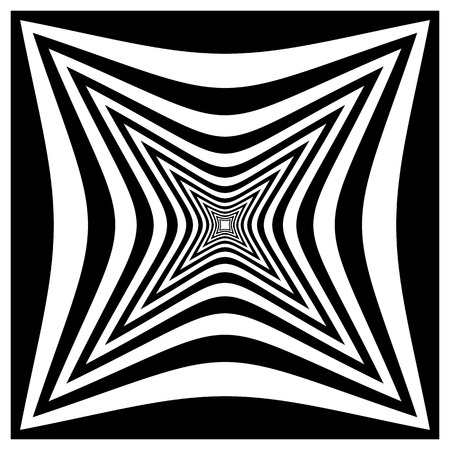 pucker: Abstract contrasty distorted shape with alternating black and white radiating lines.