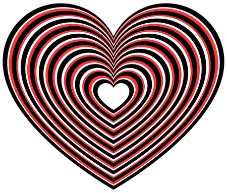 affection: Heart shape with radiating outlines. Stylized heart shape for love, affection concepts.